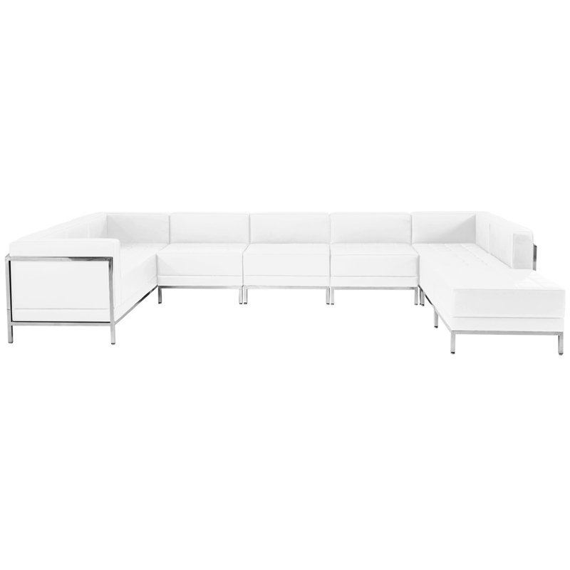#74 - 7 Piece Imagination Series White Leather U-Shape Sectional Configuration