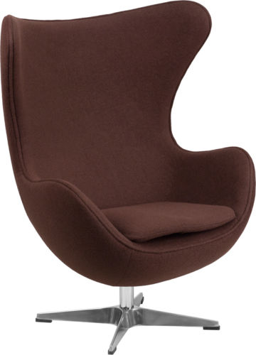 #34 - Brown Fabric Egg Chair with Tilt-Lock Mechanism - Accent Lounge Chair