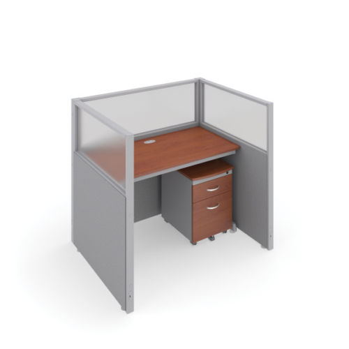 #1 - 47'' H x 48'' W Rize 1 Office Cubicle WorkStation in Gray Vinyl w/Cherry Finish