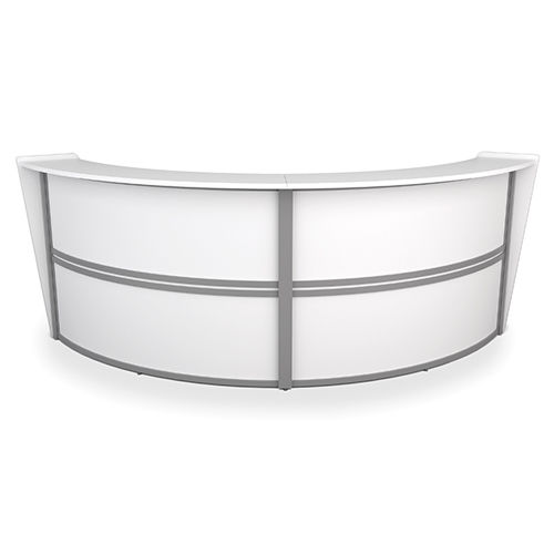 #18 - Contemporary Double Unit Reception Desk in White Finish with Silver Frame
