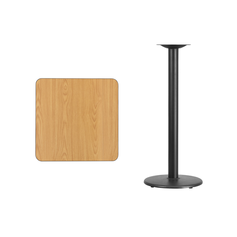 #77 - 24'' SQUARE NATURAL LAMINATE TABLE TOP WITH 18'' ROUND BAR HEIGHT BASE