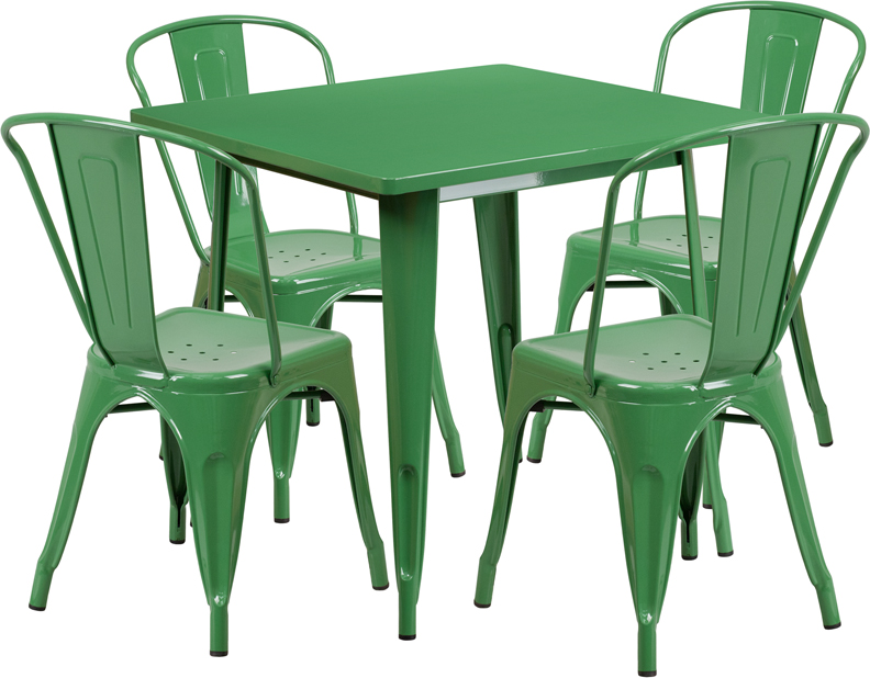 #39 - 31.5'' Square Green Metal Indoor-Outdoor Restaurant Table Set with 4 Chairs