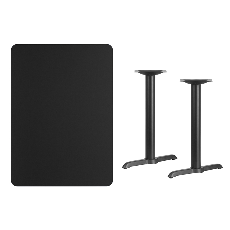 #160 -  30'' X 42'' RECTANGULAR BLACK LAMINATE TABLE TOP WITH 5'' X 22'' TABLE HEIGHT BASES