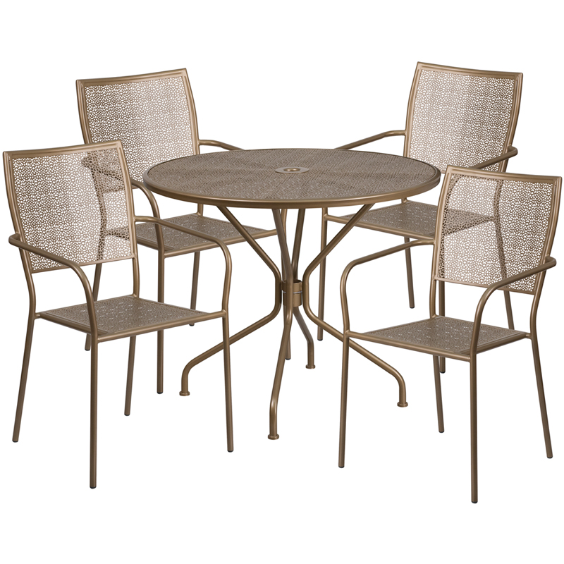 #134 -  35.25'' Round Gold Indoor-Outdoor Patio Restaurant Table Set with 4 Square Back Chairs