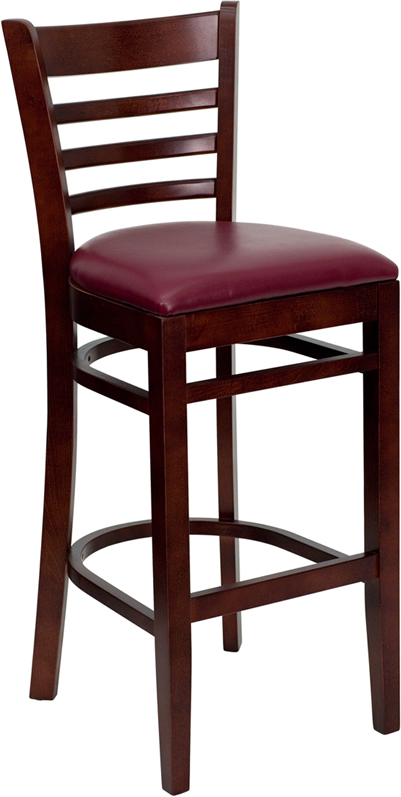#29 - MAHOGANY WOOD FINISHED LADDER BACK RESTAURANT BAR STOOL WITH BURGUNDY VINYL SEAT