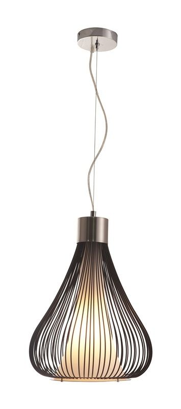 #92 - Modern Black Wire Ceiling Lamp w/Frosted Glass & Splash of Chrome - Home Decor