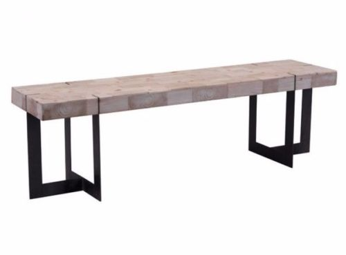 #93 - Unique Slim Design Dining Table Bench w/Veener Pieces On Natural Pine Finish