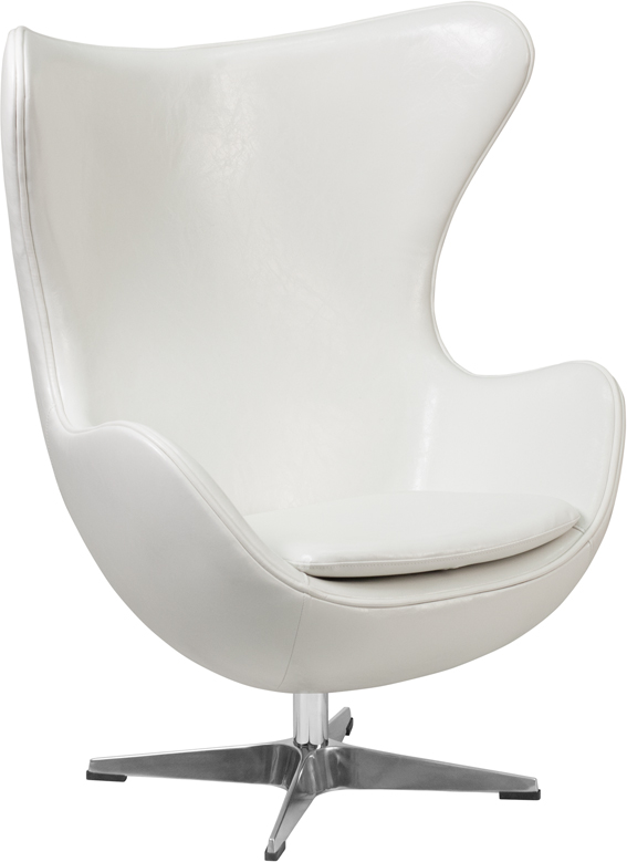 #27 - White Leather Egg Chair with Tilt-Lock Mechanism - Accent Lounge Chair