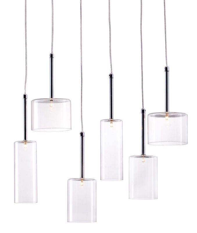 #93 - Stylish Ceiling Lamp w/Six Glass Cylinders Varying in Shapes & Size - Home Decor