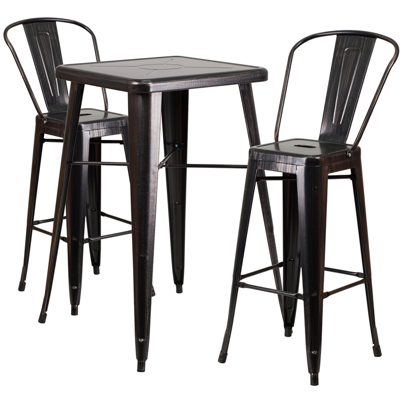 #45 - 23.75'' Restaurant Table Set in Black Antique Gold Metal with Bar Height Table and 2 Stools