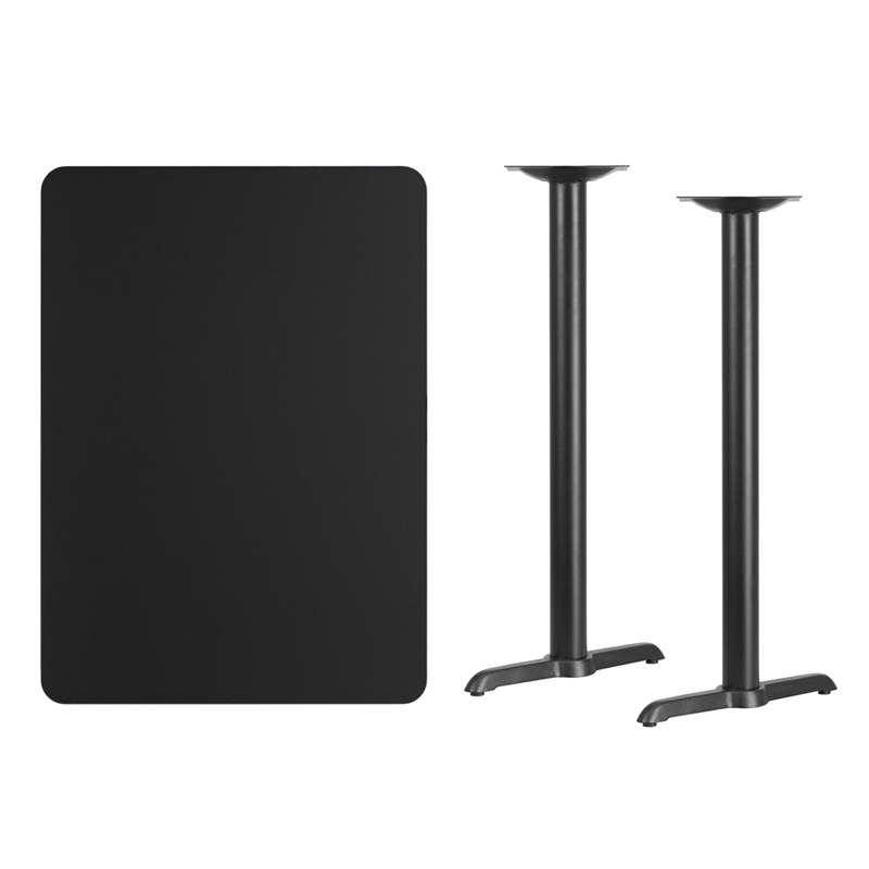 #161 - 30'' X 42'' RECTANGULAR BLACK LAMINATE TABLE TOP WITH 5'' X 22'' BAR HEIGHT BASES