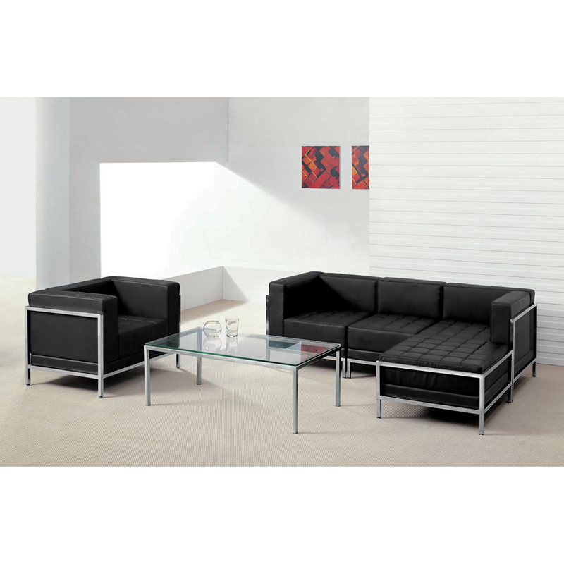 #38 - 5 Piece Imagination Series Black Leather Sectional & Chair