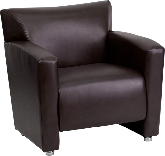 #82 - MAJESTY SERIES BROWN LEATHER CHAIR