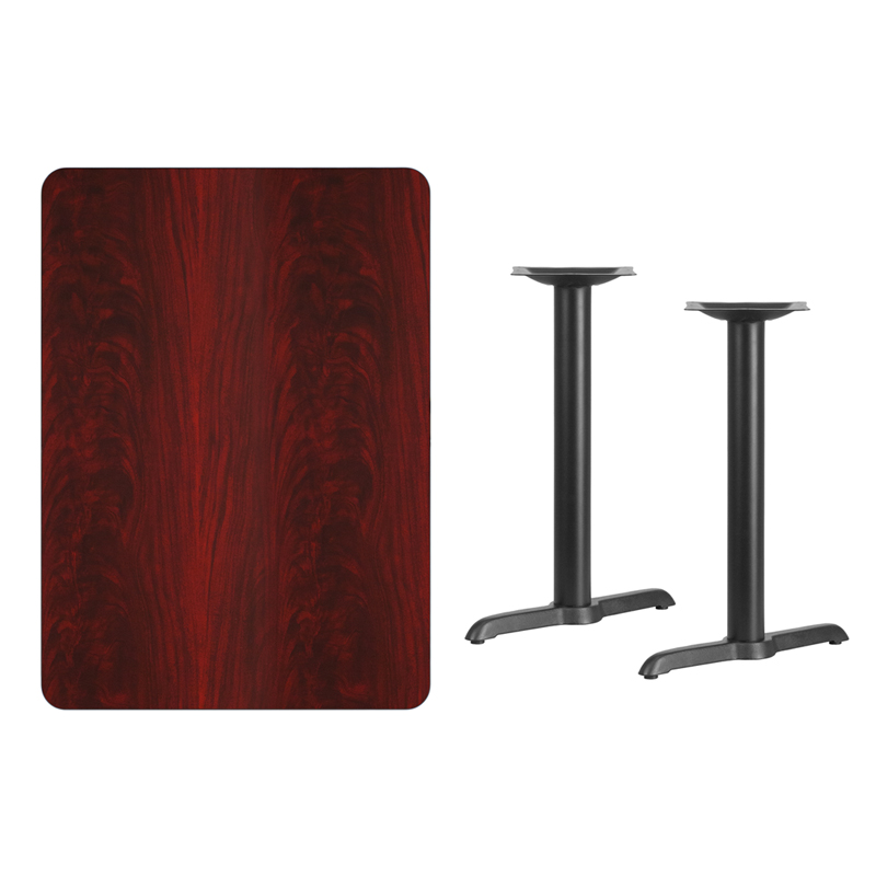 #162 - 30'' X 42'' RECTANGULAR MAHOGANY LAMINATE TABLE TOP WITH 5'' X 22'' TABLE HEIGHT BASES