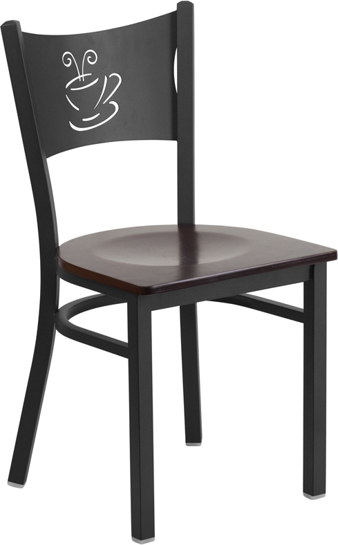 #82 - Black Coffee Back Metal Restaurant Chair with a Walnut Finished Wood Seat