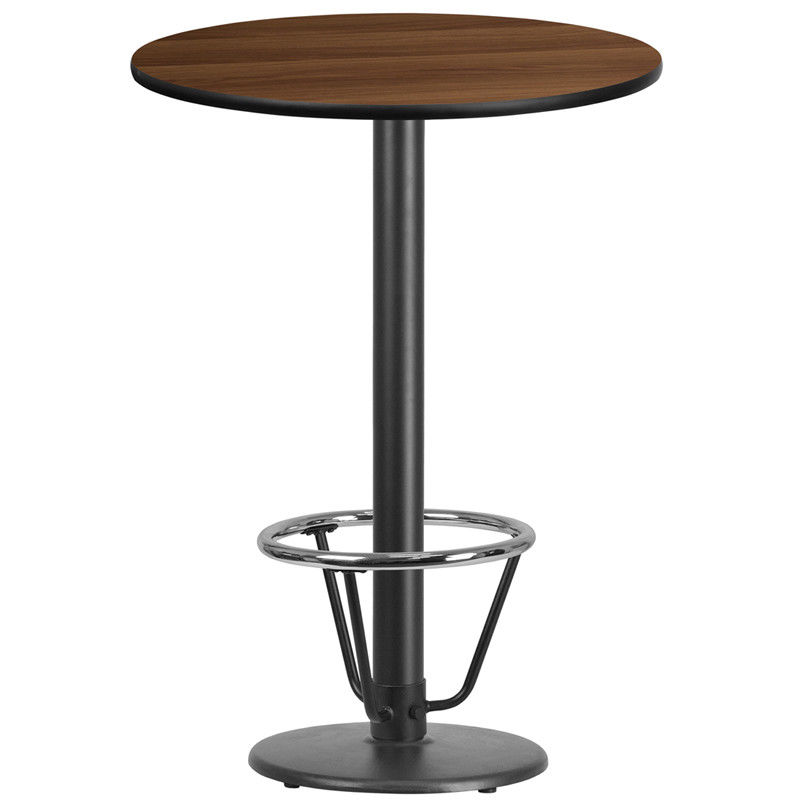 #84 - 30'' Round Walnut Laminate Table Top with 18'' Round Bar Height Table Base and Foot Ring
