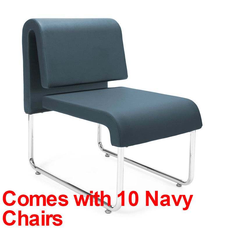 #18 - (15 PCS)UNO Series Lounge Circle Package w/Navy Chairs & Painted Screen Tables