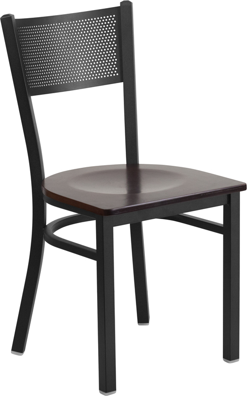 #94 - Black Grid Back Metal Restaurant Chair with a Walnut Finished Wood Seat