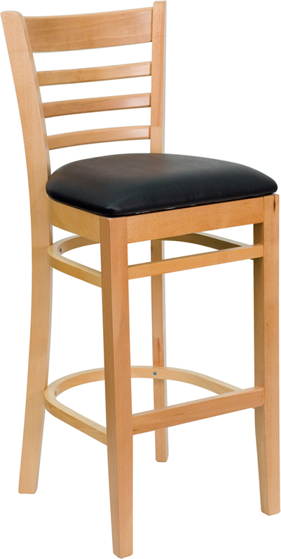 #32 - NATURAL WOOD FINISHED LADDER BACK RESTAURANT BAR STOOL WITH BLACK VINYL SEAT