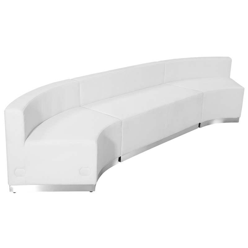 #63 - LOUNGE SERIES WHITE LEATHER RECEPTION CONFIGURATION, 3 PIECES