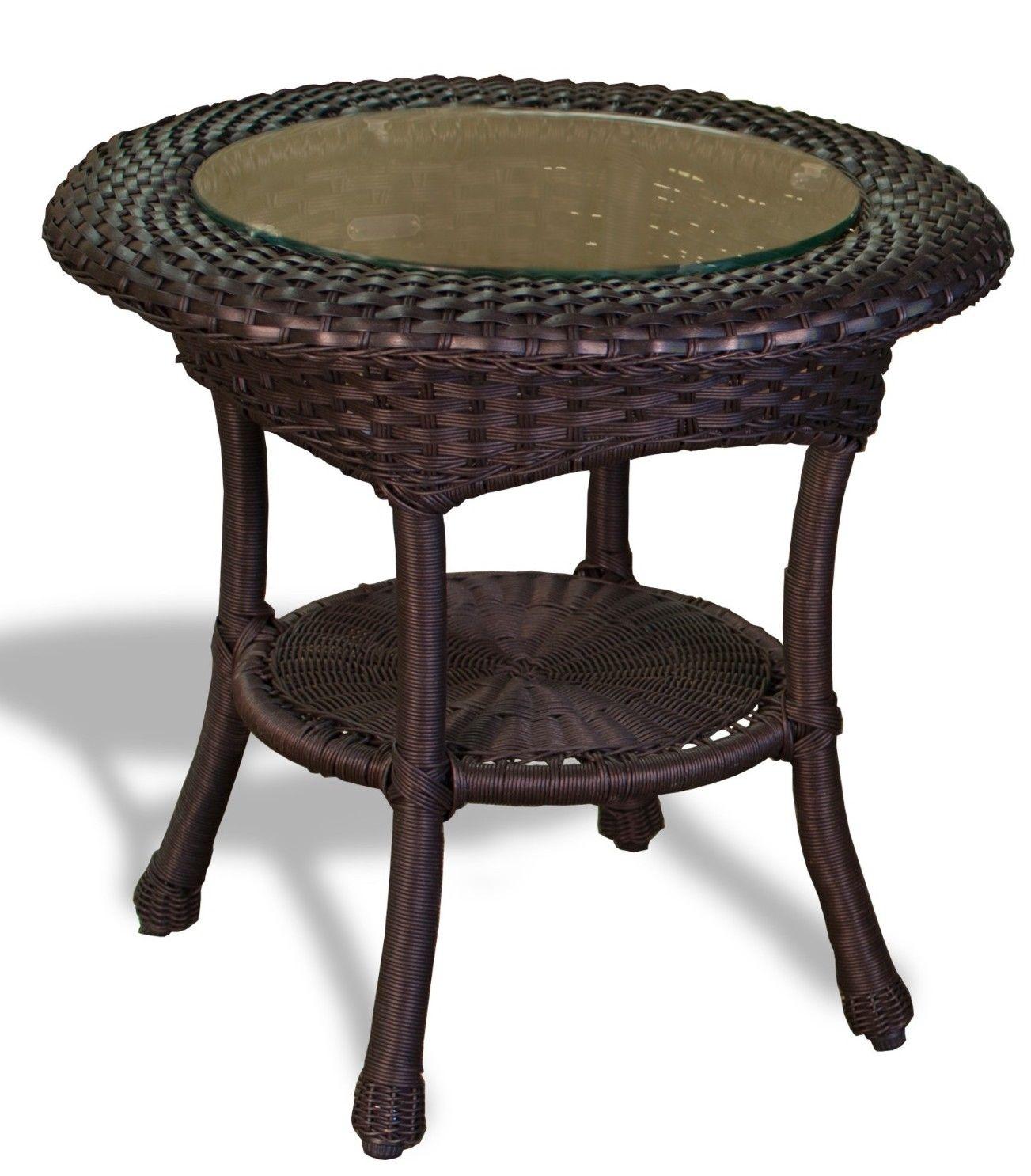 #121 - Outdoor Patio Garden Furniture Tortoise Resin Wicker Side Table - Aluminum Frame