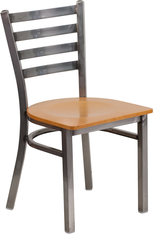 #76 - Clear Coated Ladder Back Metal Restaurant Chair with Natural Wood Seat