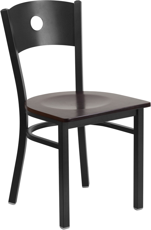 #88 - Black Circle Back Metal Restaurant Chair with a Walnut Finish Wood Seat