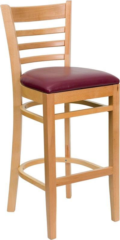 #33 - NATURAL WOOD FINISHED LADDER BACK RESTAURANT BAR STOOL WITH BURGUNDY VINYL SEAT