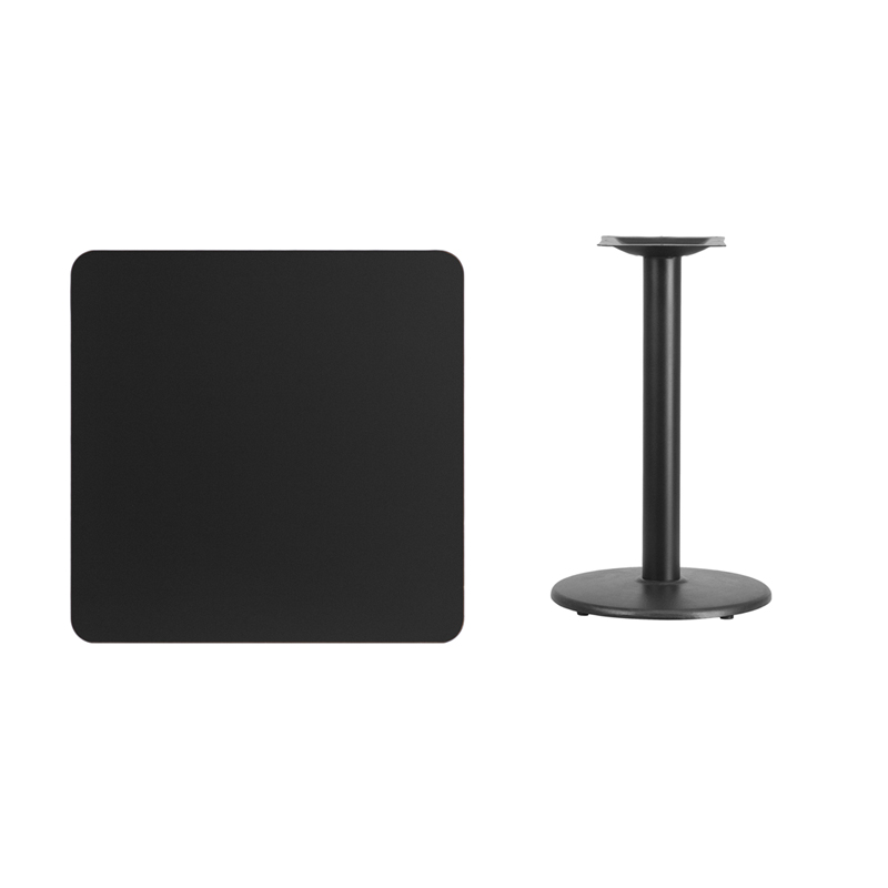 #240 - 30'' SQUARE BLACK LAMINATE TABLE TOP WITH 18'' ROUND TABLE HEIGHT BASE
