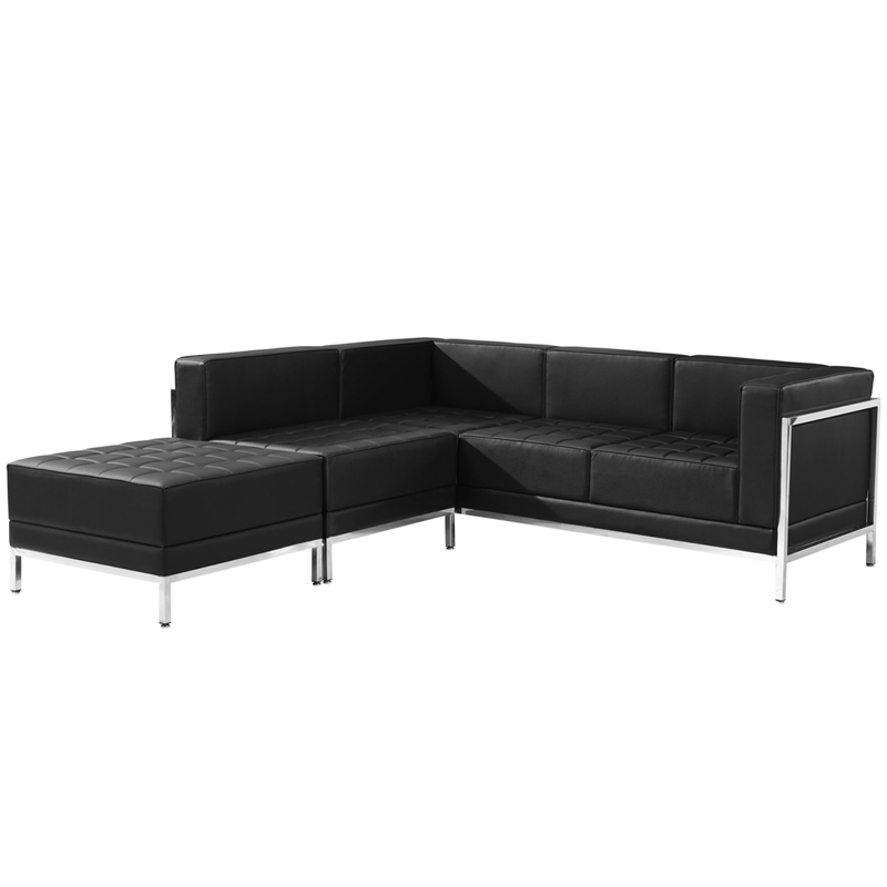 #39 - 3 Piece Imagination Series Black Leather Sectional Configuration