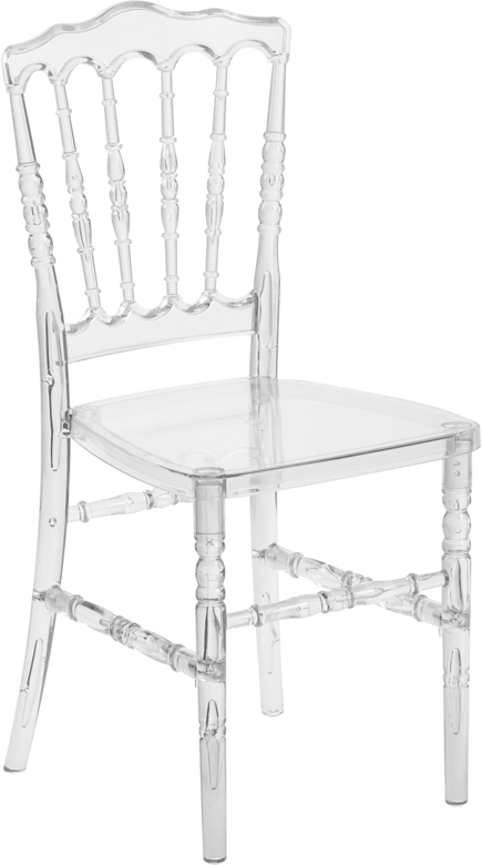 #13 - Crystal Clear Resin Stacking Napoleon Chair - FREE SEAT CUSHION