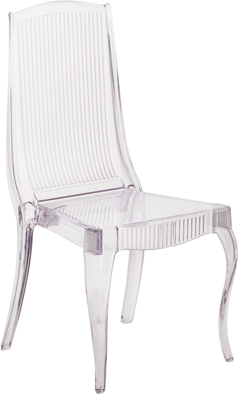 #19 - CRYSTAL ICE STACKING CHAIR WITH FULL BACK VERTICAL LINE DESIGN