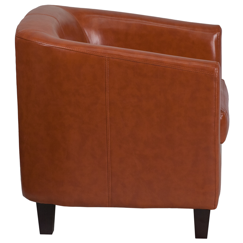 #3 - COGNAC LEATHER OFFICE GUEST CHAIR / RECEPTION CHAIR