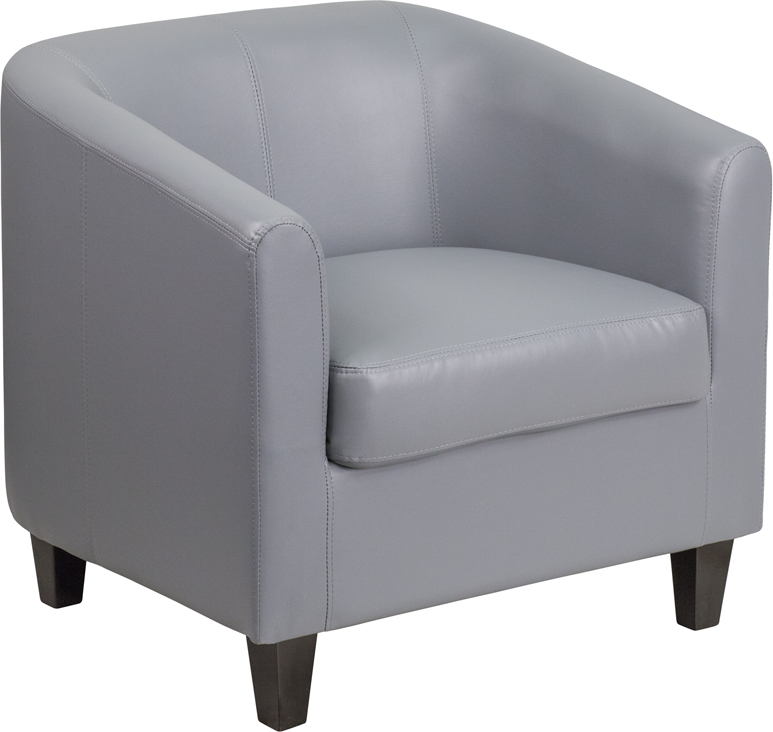 #4 - GRAY LEATHER OFFICE GUEST CHAIR / RECEPTION CHAIR