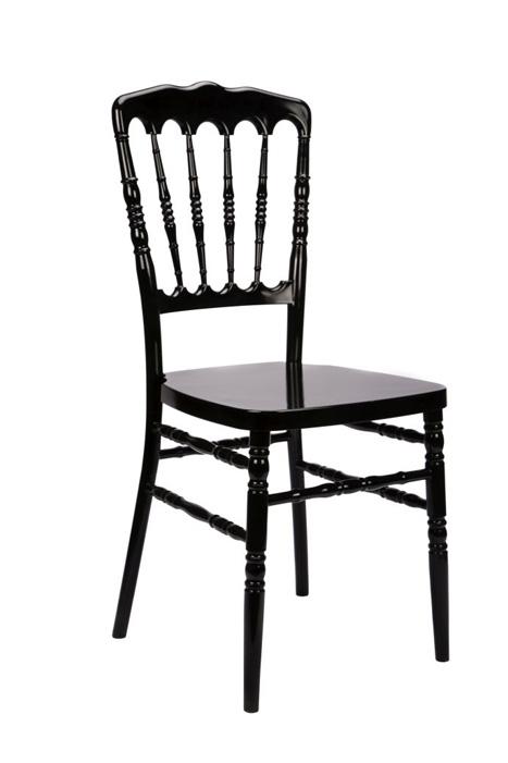 #27 - Black Resin Stacking Napoleon Chair - FREE SEAT CUSHION