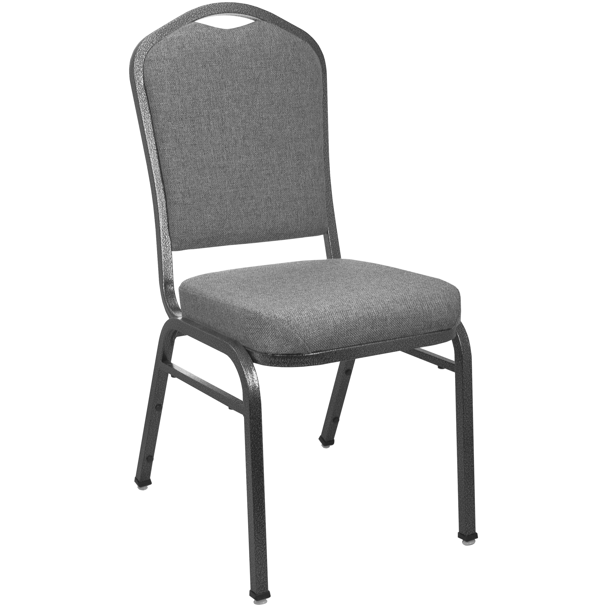 #55 -  Crown Back Banquet Chair with Charcoal Gray Fabric and Silver Vein