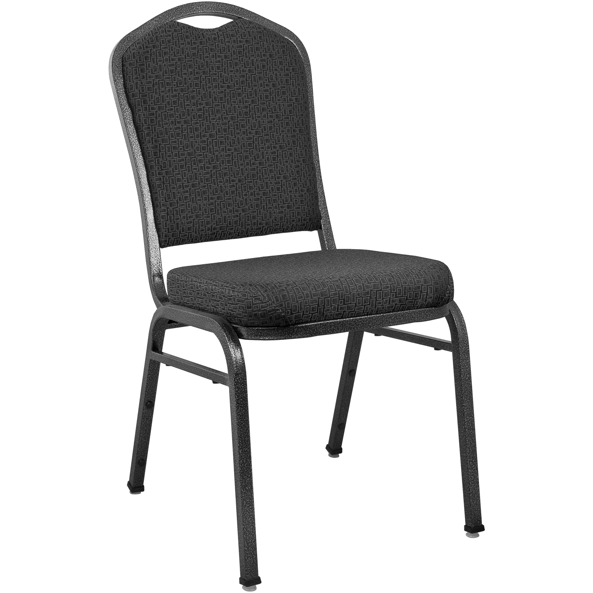 #57 -  Crown Back Banquet Chair with Black Patterned Fabric and Silver Vein