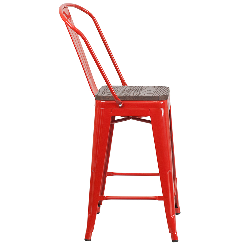 """#53 - 24"""" High Red Metal Counter Height Stool with Back and Wood Seat"""