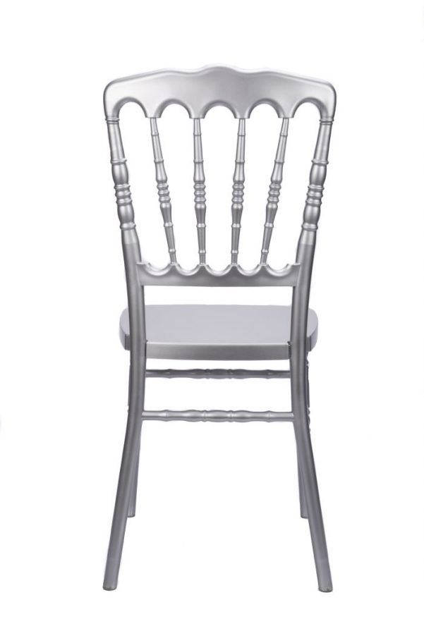 #26 - Silver Resin Stacking Napoleon Chair - FREE SEAT CUSHION