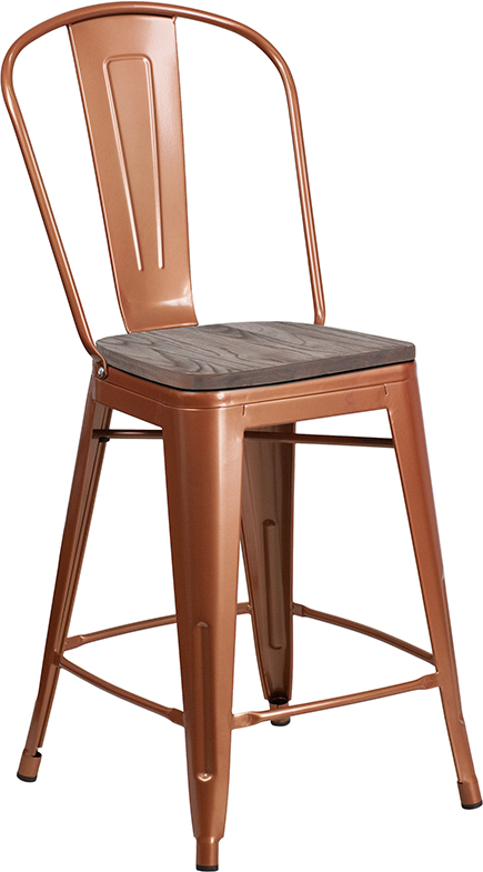 """#59 - 24"""" High Copper Metal Counter Height Stool with Back and Wood Seat"""