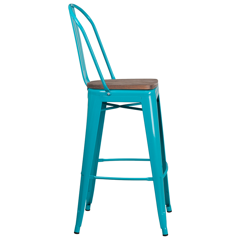 """#71 - 30"""" High Crystal Teal-Blue Metal Barstool with Back and Wood Seat"""
