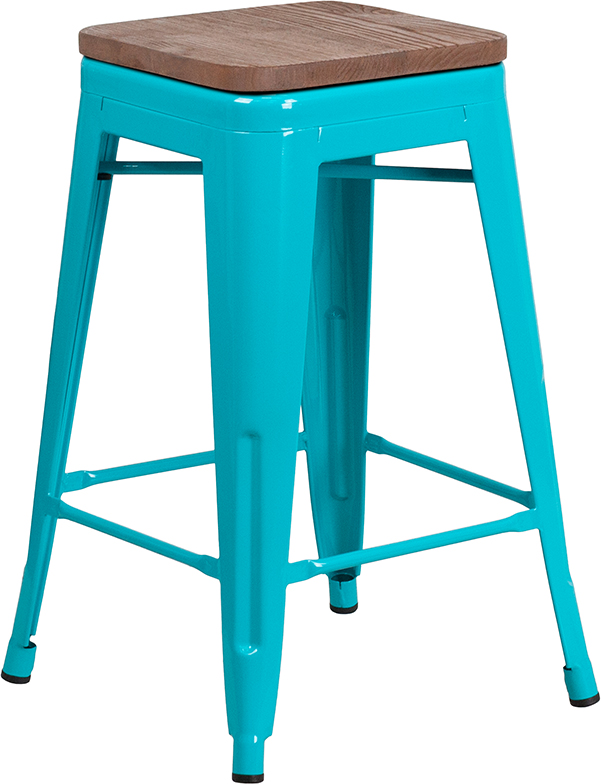 """#124 - 24"""" High Backless Crystal Teal-Blue Counter Height Stool with Square Wood Seat"""