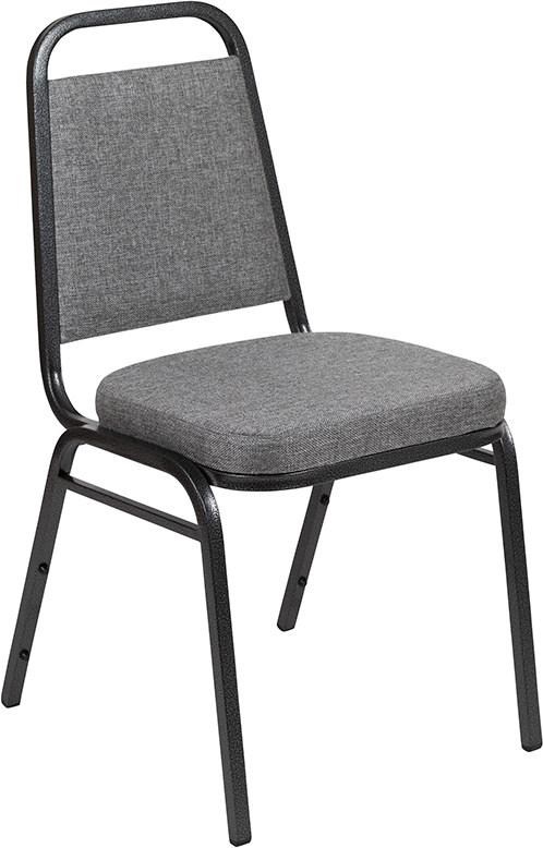#61 - TRAPEZOIDAL BACK BANQUET CHAIR WITH GREY FABRIC
