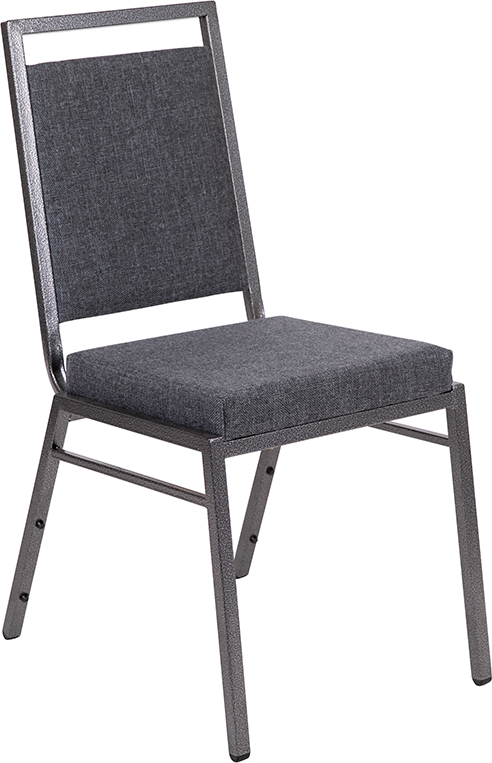 #59 - Square Back Stacking Banquet Chair in Dark Gray Fabric with Silvervein Frame