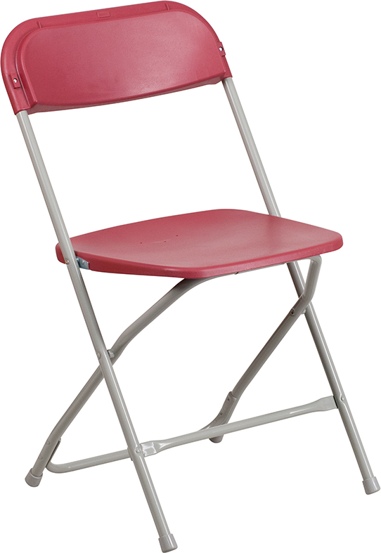 #4 - 650 LBS CAPACITY RED PLASTIC FOLDING CHAIRS