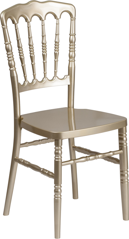 #9 - Gold Resin Stacking Napoleon Chair - FREE SEAT CUSHION