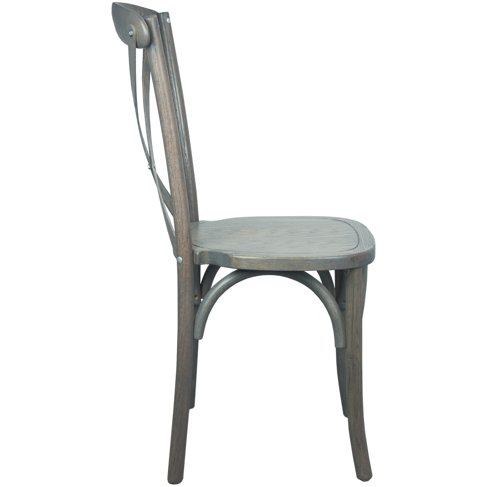 #18 - Cross Back Gray Wood Stackable Chair