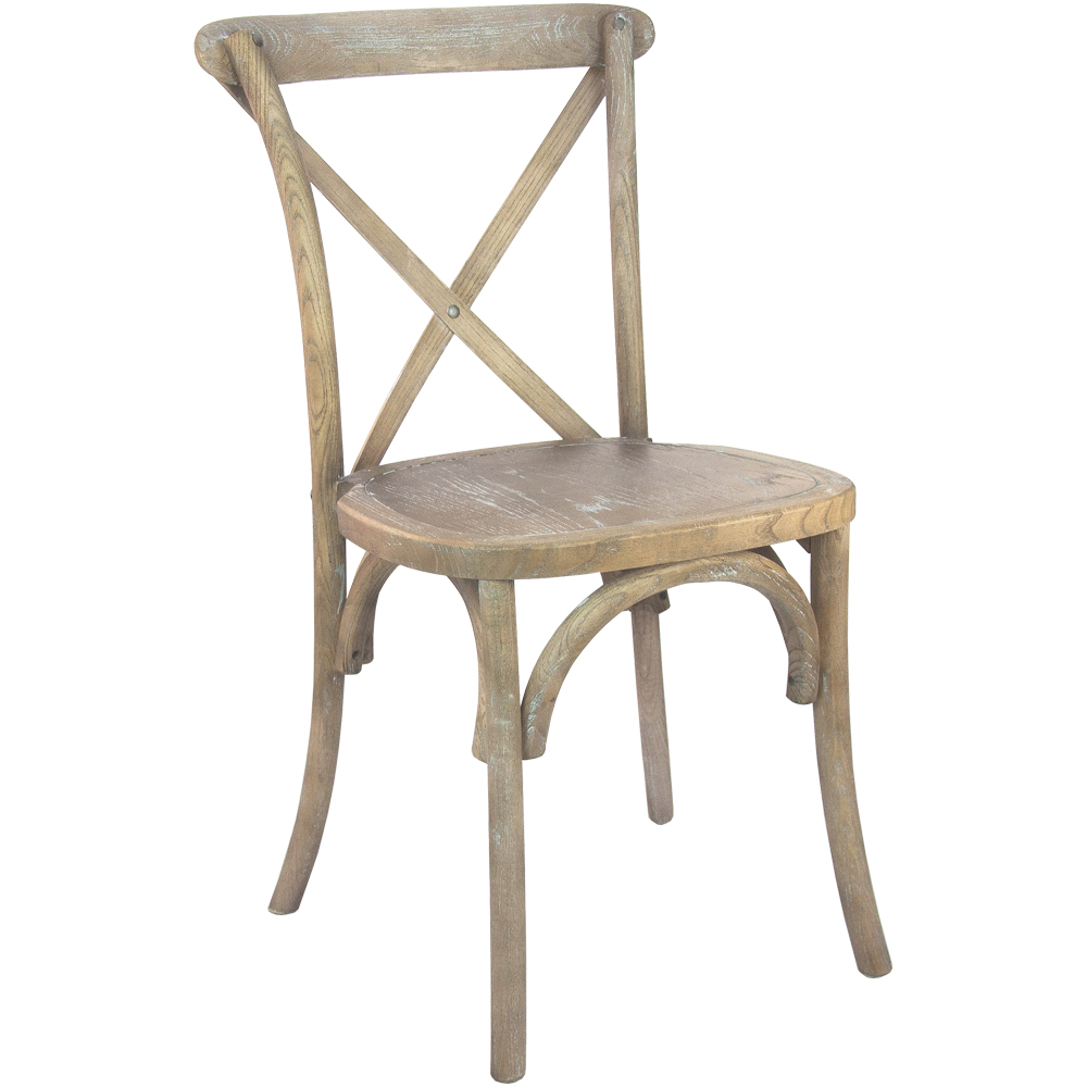 #22 - Cross Back Medium Natural with White grain  Wood Stackable Chair