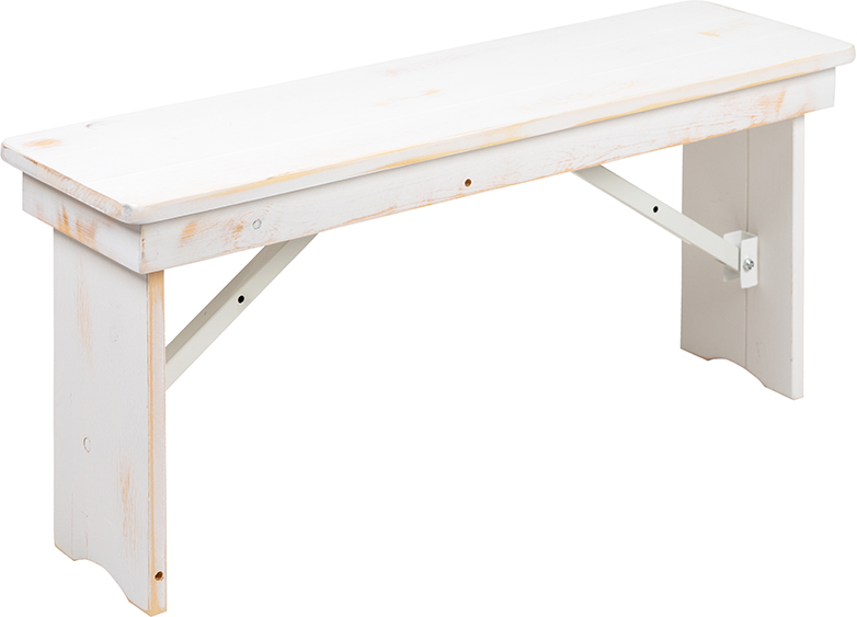 """#57 - 40"""" x 12"""" Antique Rustic White Solid Pine Folding Farm House Dining Bench"""