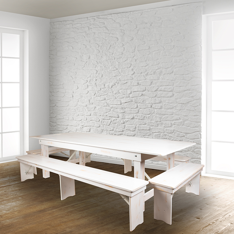 """#58 - 8' x 12"""" Antique Rustic White Solid Pine Folding Farm House Dining Bench"""